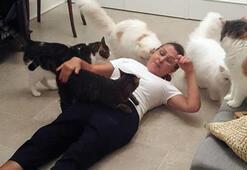 Kedileri ünlü şarkıcıyı böyle karşıladı