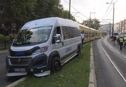 Son dakika | İstanbulda tramvay yolunda seferleri durduran kaza