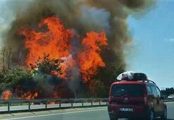 Tekirdağ-İstanbul yolunda korkutan yangın