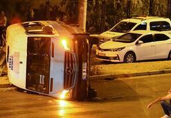 Feci kaza Minibüsle çarpışan otomobil metrelerce aşağıya düştü
