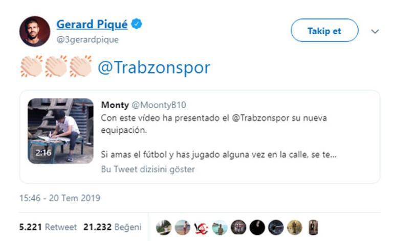 Barcelonalı Piqueden Trabzonspor paylaşımı