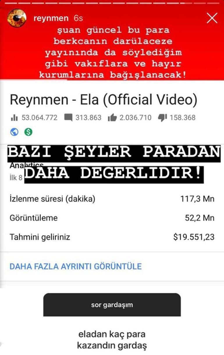 Reynmen, Ela şarkısından ne kadar kazandı