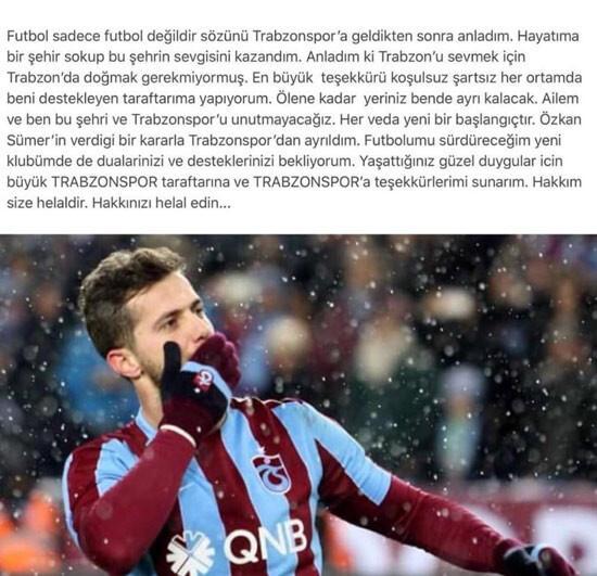 Uğur Demiroktan Trabzonspora duygusal veda