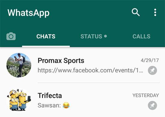 Whatsapp sohbet sabitleme özelliği yayında!