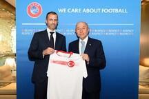 Bakan Kasapoğlu ve TFF Başkanı Özdemir'den UEFA Başkanı Ceferin'e ziyaret