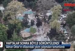 Adnan Oktarın villasındaki yıkım çalışmaları tamamlandı
