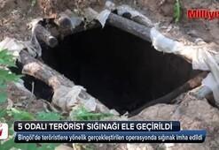 Bingölde teröristlerin 5 odalı sığınağı bulundu