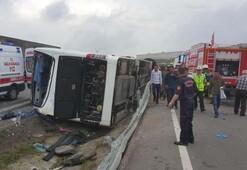 Samsunda feci kaza Acemi erleri taşıyan otobüs devrildi