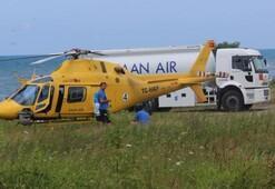 Yakıtı azalan helikopter mecburi iniş yaptı