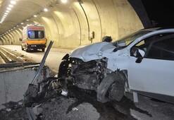 Feci kaza Tünel girişindeki duvara çarptı, çok sayıda yaralı var...