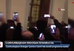 Büyük Çamlıca Camisinde Cumhurbaşkanı Erdoğana yoğun ilgi