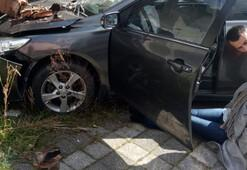 Ümraniyede otomobil gecekonduya daldı