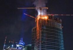 Gökdelen inşaatında yangın çıktı