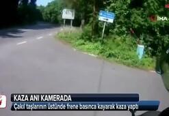 Sarıyer'de motosikletli gencin kazası kamerada