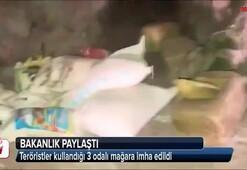 Teröristler kullandığı 3 odalı mağara imha edildi