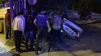 Otomobil takla atıp duvara çarptı: 1 ölü